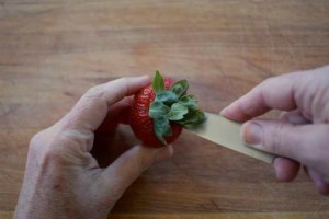 Hulling Strawberries using a Knife